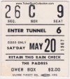 1967 PCL San Diego Padres ticket stub