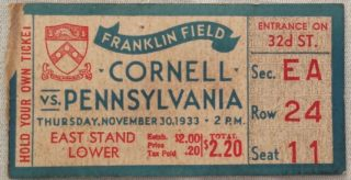 1933 NCAAF Cornell at Pennsylvania ticket stub