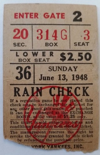 1948 Babe Ruth Uniform Retired Yankees Indians Game Used Ticket Stub 2550