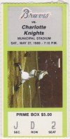1989 Greenville Braves ticket stub vs Charlotte Knights