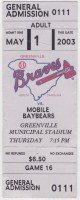 2003 Greenville Braves ticket stub vs Mobile Baybears