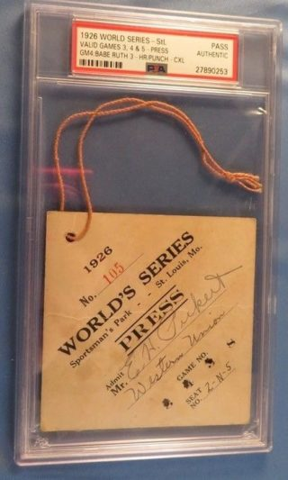 1926 World Series GM 4 Babe Ruth 3 HR Press Pass New York Yankees