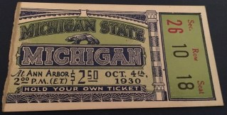 1930 NCAAF Michigan State at Michigan ticket stub 76