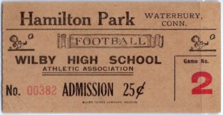 1930s Wilby High School football ticket stub