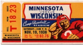1938 NCAAF Minnesota vs Wisconsin ticket stub