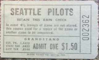 1969 Seattle Pilots Spring Training Ticket Stub