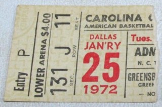 1972 ABA Carolina Cougars ticket stub vs Dallas Chaparrals