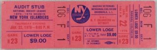 1976 New York Islanders ticket stub vs Detroit Red Wings