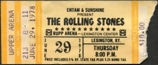 1978 Rolling Stones concert ticket stub Some Girls Tour Rupp Arena Lexington 80