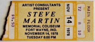 1978 Steve Martin ticket stub from Fort Wayne