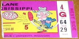 1978 Tulane football ticket stub vs Mississippi