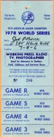 1978 World Series Press Pass Dodgers at Yankees