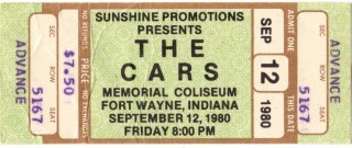 1980 The Cars and The Motels ticket stub from Fort Wayne