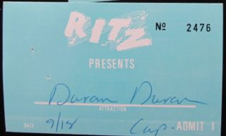 1981 Duran Duran tickets Ritz Club New York City