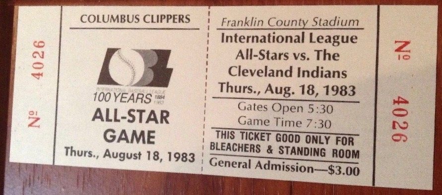 1983 International League All-Stars vs Cleveland Indians Ticket Stub