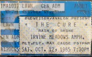 1985 The Cure Ticket Stub Irvine Meadows
