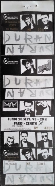 1993 Duran Duran unused ticket Zenith Paris France