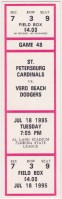 1995 St. Petersburg Cardinals ticket stub vs Vero Beach