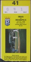 1988 Omaha Royals Ticket Stub vs Indianapolis Indians