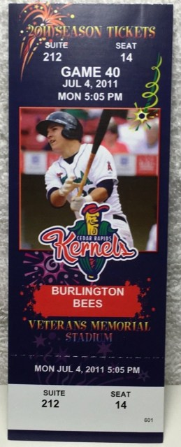 2011 Cedar Rapids Kernals ticket stub vs Burlington Bees