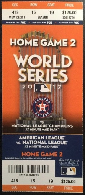 2017 World Series Game 4 Houston Astros ticket vs Los Angeles Dodgers 72