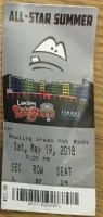2018 Lansing Lugnuts ticket stub vs Bowling Green