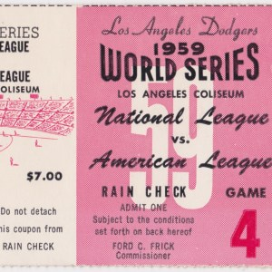 1959 World Series Game 4 Ticket Stub White Sox at Dodgers 10/5/1959