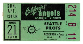 1970 Milwaukee Brewers Seattle Pilots vs California Angels Ticket Stub 20.50