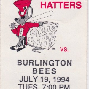 1994 Madison Hatters ticket stub vs Burlington Bees 7/19/1994