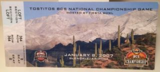 2007 BCS Championship Ticket Stub Ohio State vs Florida