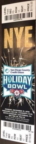 2018 Holiday Bowl Ticket Stub Northwestern vs Utah