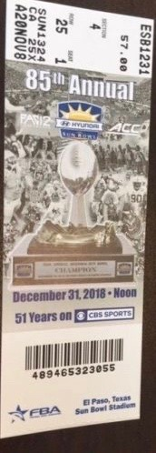 2018 Sun Bowl Ticket Stub Stanford vs Pittsburgh