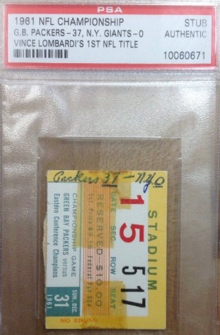 1961 NFL Championship Game ticket stub Packers vs Giants 40