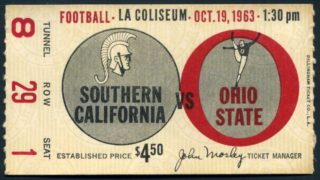 1963 NCAAF USC ticket stub vs Ohio State
