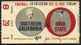 1963 NCAAF USC ticket stub vs Ohio State 46