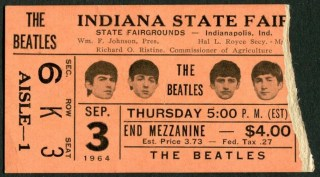 1964 Beatles ticket stub Indiana State Fair 500