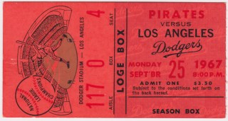 1967 MLB Los Angeles Dodgers ticket stub vs Pittsburgh Pirates 5