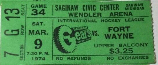 1974 IHL Saginaw Gears ticket stub vs Ft. Wayne