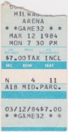 1984 IHL Milwaukee Admirals ticket stub vs Toledo