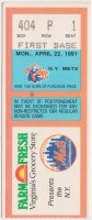 1991 Tidewater Tides ticket stub vs New York Mets