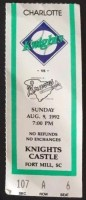1992 MiLB Charlotte Knights ticket stub vs Greenville Braves