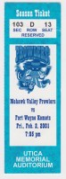 2001 UHL Mohawk Valley Prowlers ticket stub vs Ft. Wayne