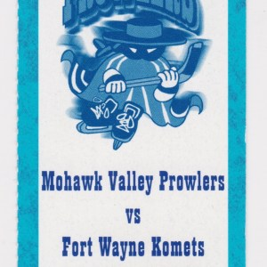 2001 UHL Mohawk Valley Prowlers ticket stub vs Ft. Wayne Komets 2/2/2001