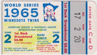 1965 World Series Game 2 ticket stub Orioles at Dodgers