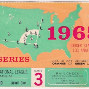 1965 World Series ticket stub Game 3 Orioles vs Dodgers 10/9/1965