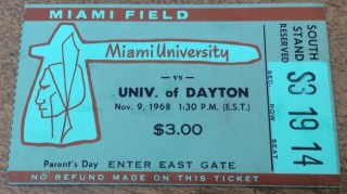 1968 NCAAF Miami of Ohio ticket stub vs Dayton