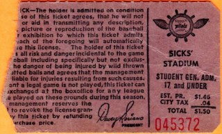 1969 MLB Seattle Pilots ticket stub