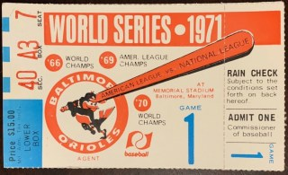 1971 World Series Game 1 ticket stub Baltimore Orioles Pirates