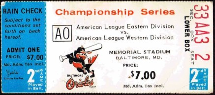 1973 ALCS Game 2 Ticket Stub A's at Orioles