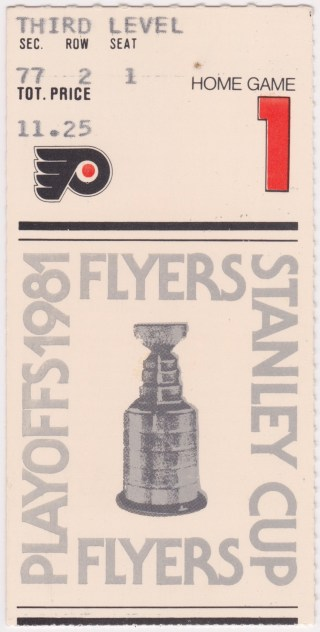 1981 Philadelphia Flyers Playoffs 1st Round Game 1 ticket stub vs Nordiques